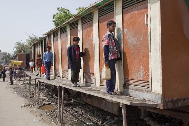 INDIA / New Delhi / 5 March 2011 Portable toilets are provided by the Municipal Corporation of Delhi for the community at a slum colony in the GP Block of the Pitampura locality of New Delhi.