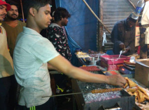 Irfan Ali preparing Kababs