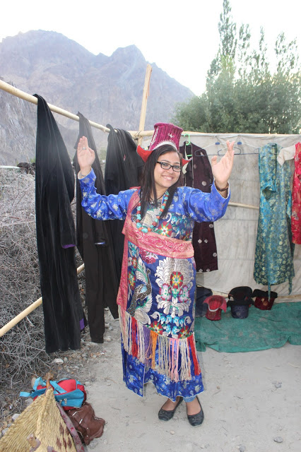 In the traditional dress