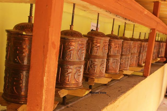 The prayer wheel in the courtyard