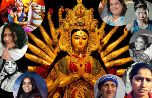 Women depicting various forms of Durga..