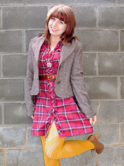 Plaid_shirtdress,_grey_jacket_and_opaque_yellow_patterned_tights