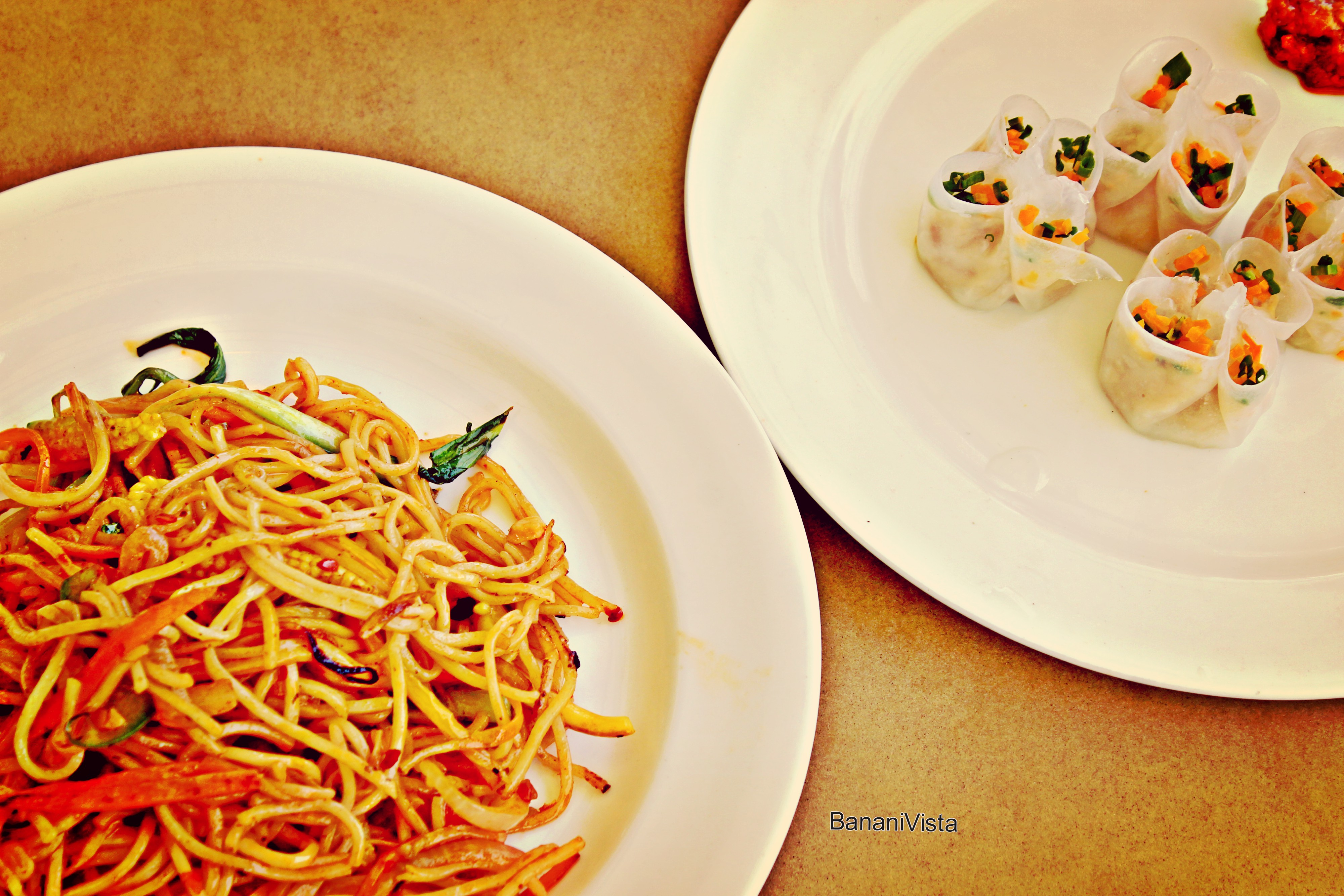 Vegetable Noodles and Chicken Dimsums