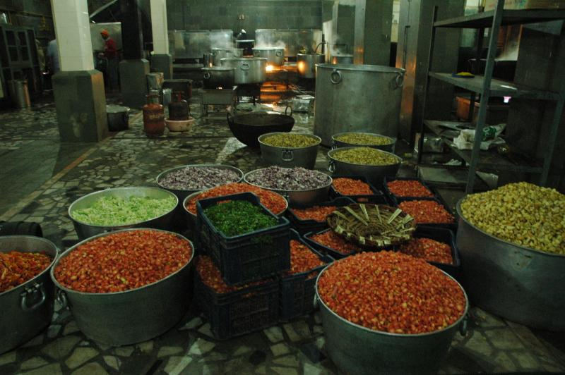 The quantities of food for the whole Langar meal