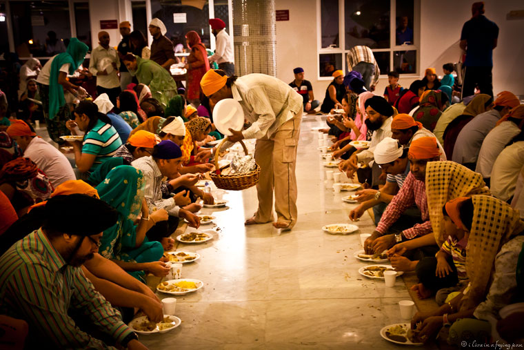 Sangat enjoying Langar during Hola Mohalla