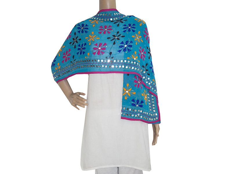 A dupatta with Chammaas work, where mirrors are sewn into the pattern