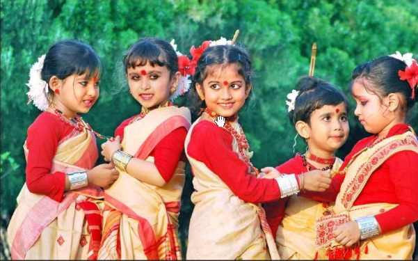 Little girls in traditional attire
