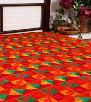 Bedspread with Phulkari work.