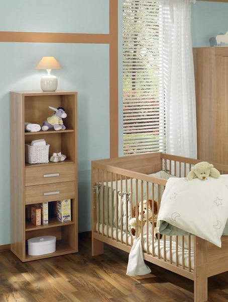 An old bookshelf can be used to store baby stuff