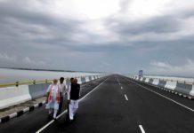 Prime Minister, Narendra Modi walking over Dhola-Sadia.