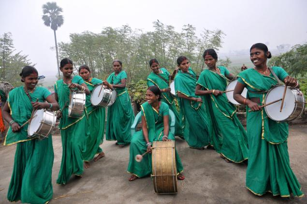 women upliftment: The band in action.