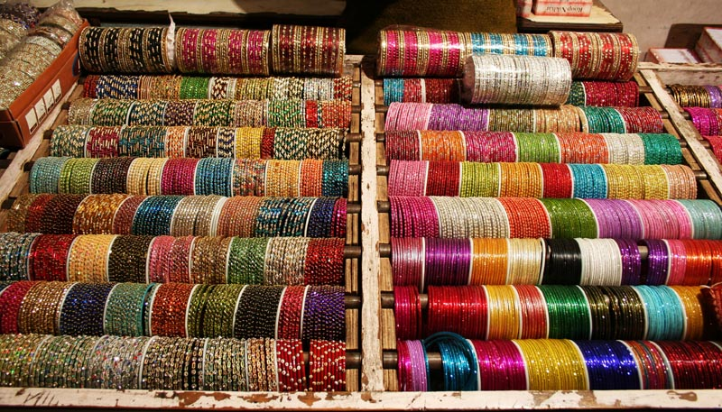 The lovely bangles at the stall