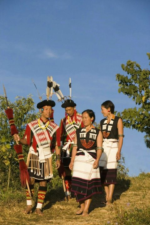 The traditional attire of the Angami tribe of Nagaland