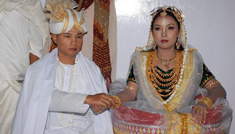 The Manipuri bride wears a 'Potloi'