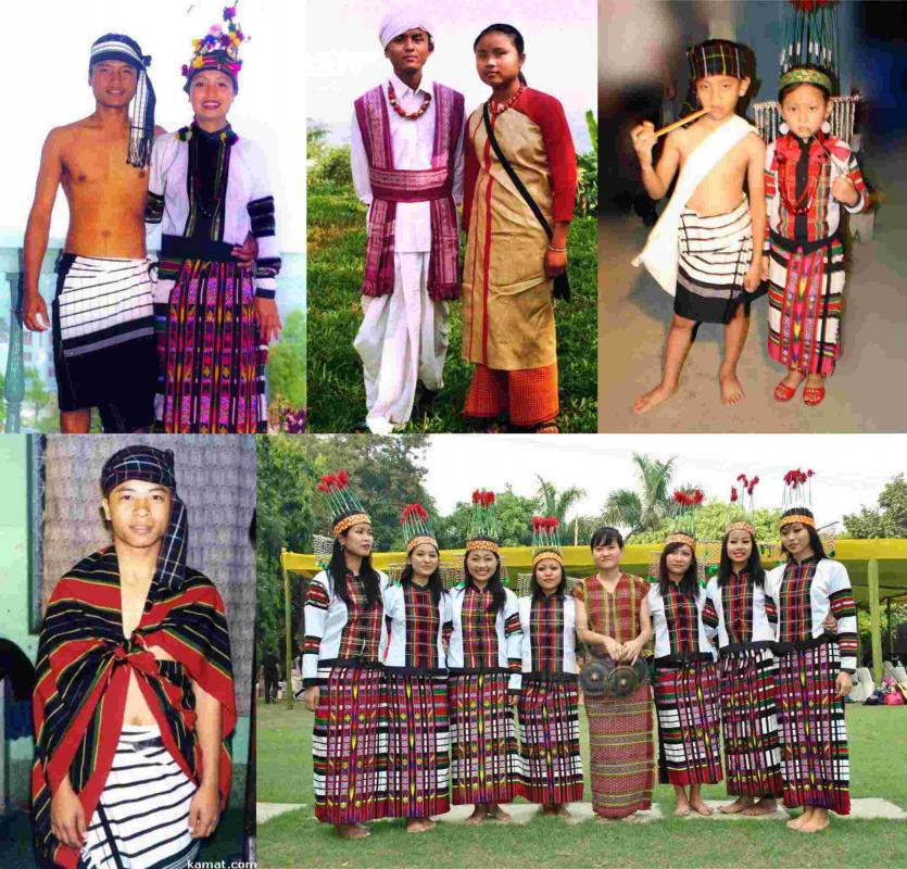 Different types of Mizo costumes.