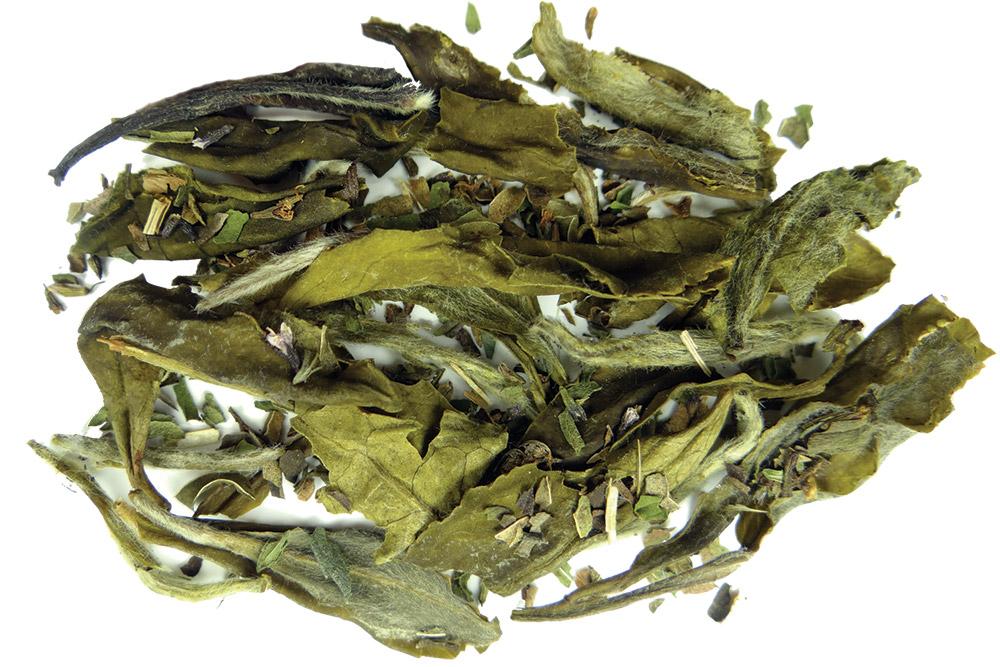 The aromatic organic tea leaves