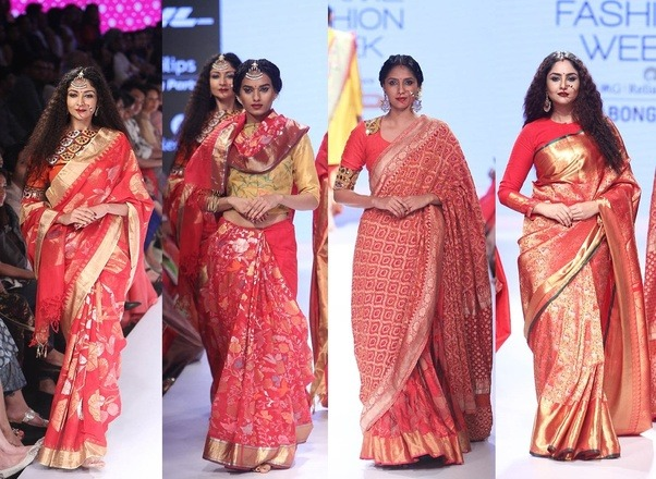 A variety of fabrics and designs are incorporated to create the perfect saree