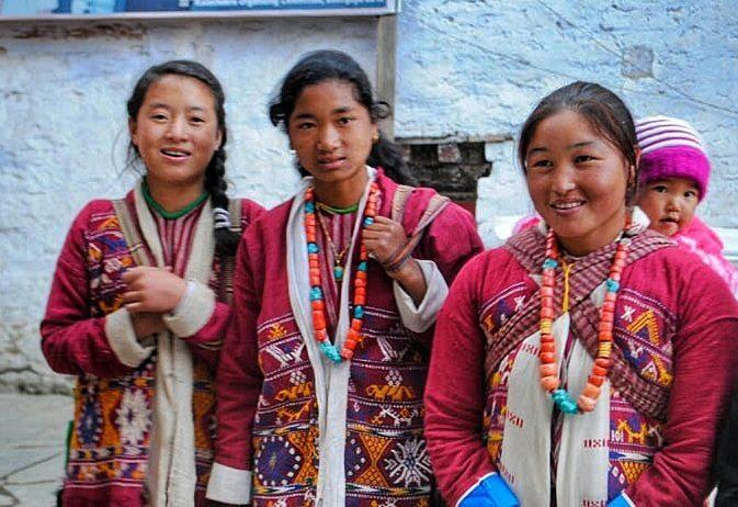 Traditionally dressed Monpa women