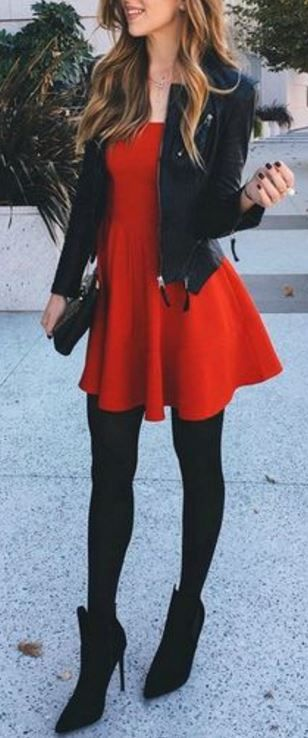 Stunning red dress with a dazzling leather jacket