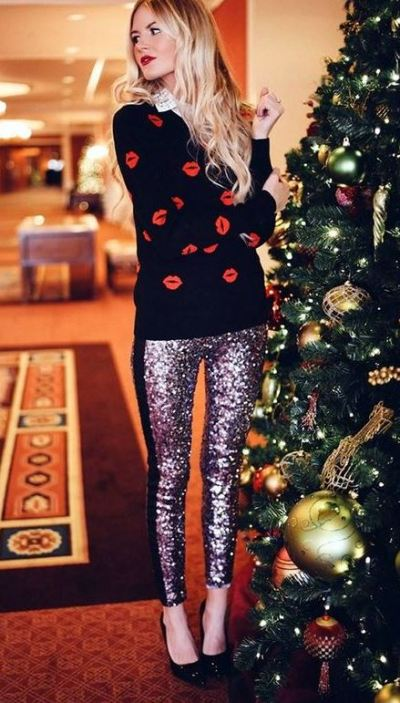 Sequined leggings with a sweater