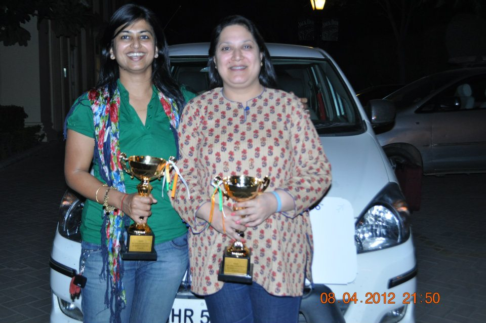 Dr. Panda with her Car-rally trophy