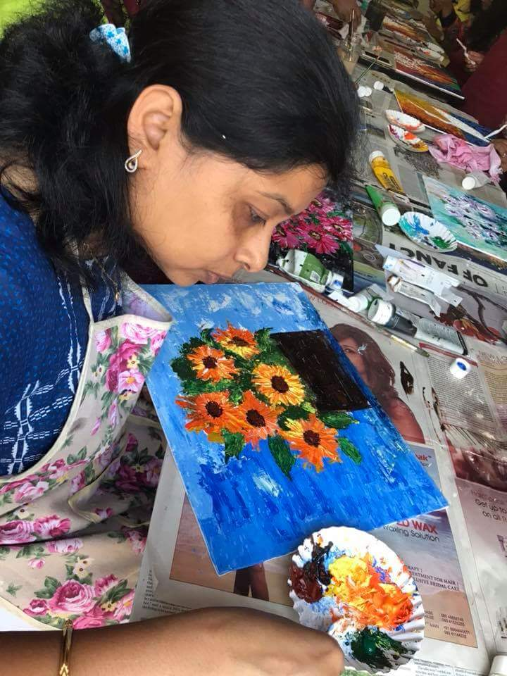 Shipra immersed in her work