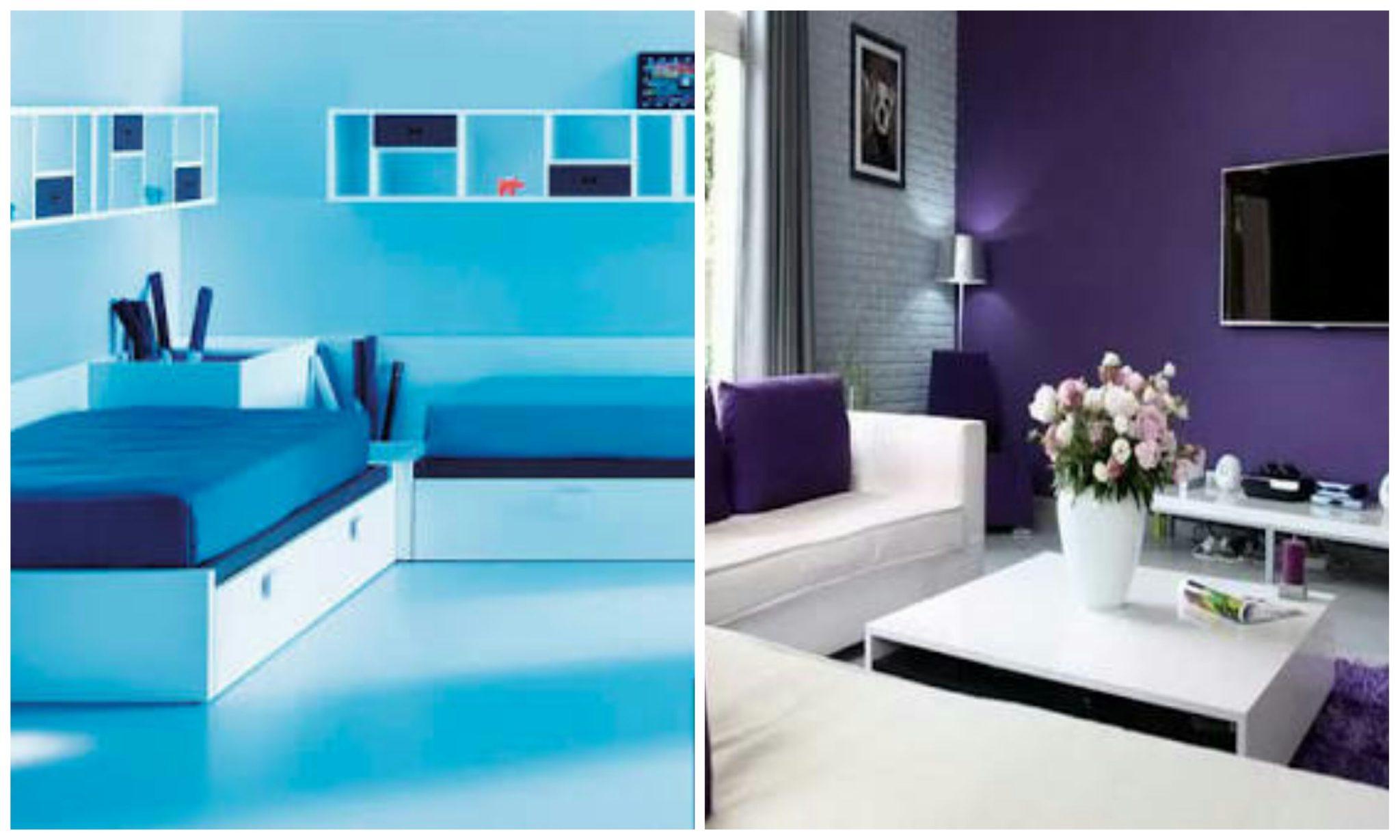 Single coloured boring room vs. Two-coloured bright room