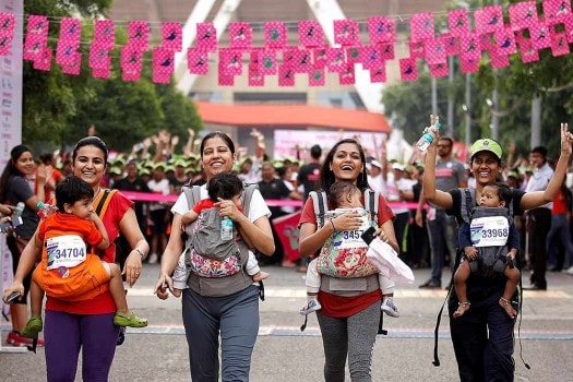 Mothers with their babies in Pinkathon