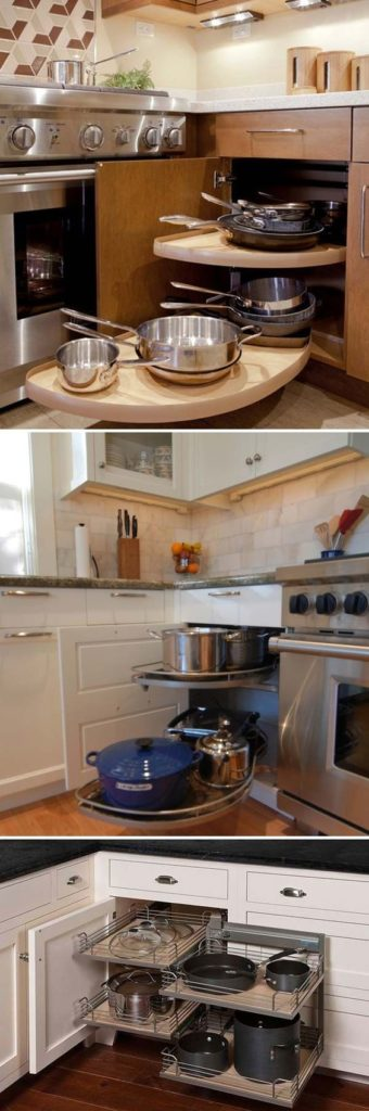 A pullout shelf storage