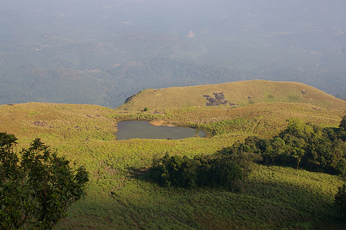 The heart-shaped lake at Chembra Peak