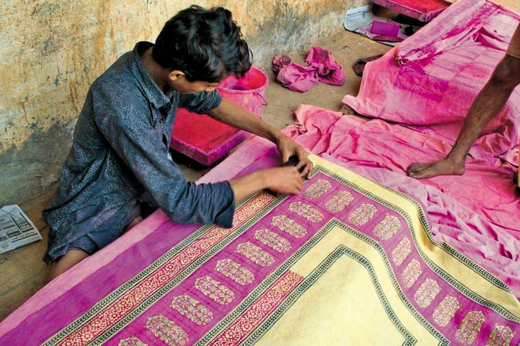 Beautiful Maheshwari saree in making