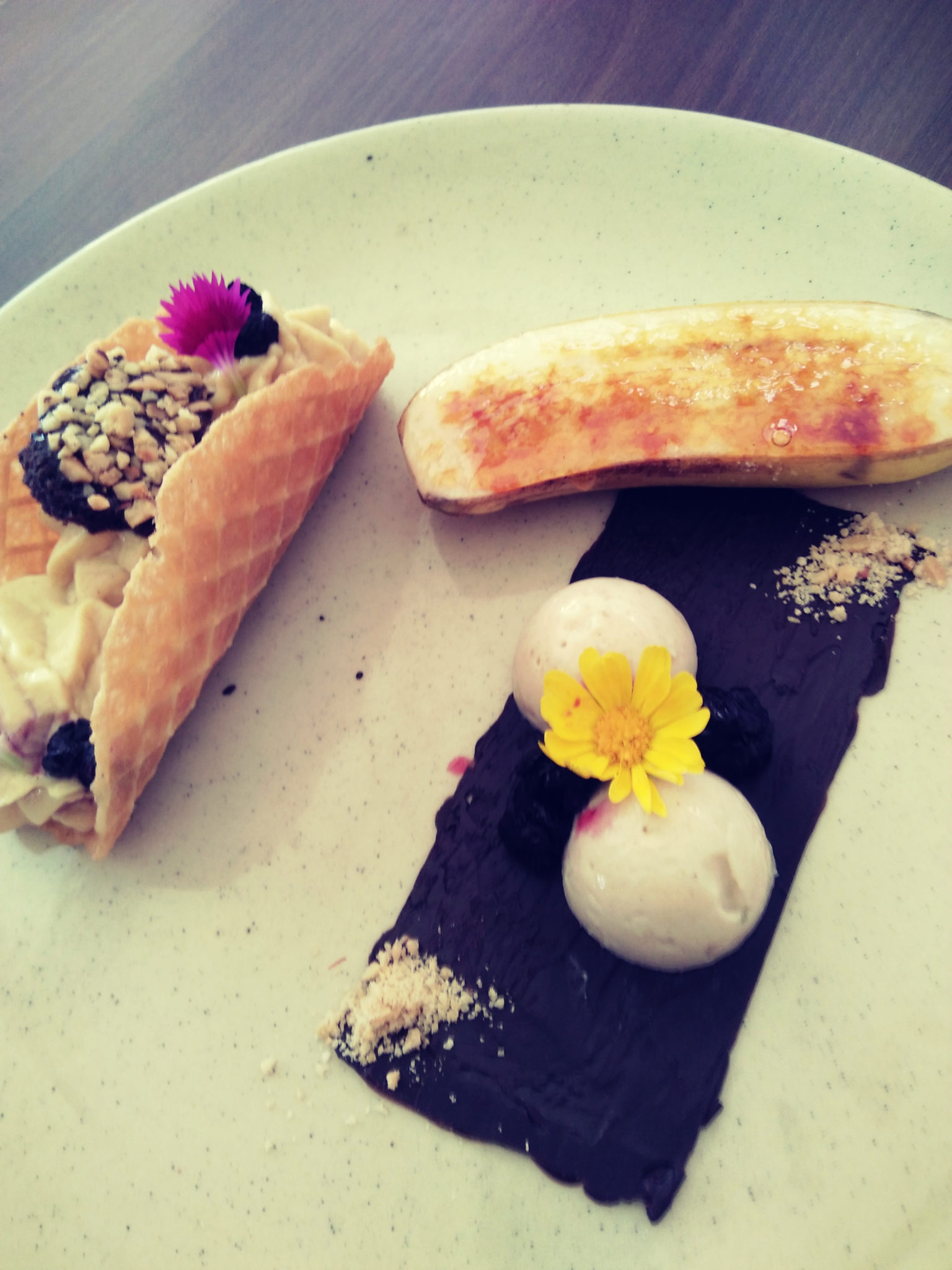 Peanut butter mousse taco, Banana Kulfi, Caramelized Banana, Farzi cafe