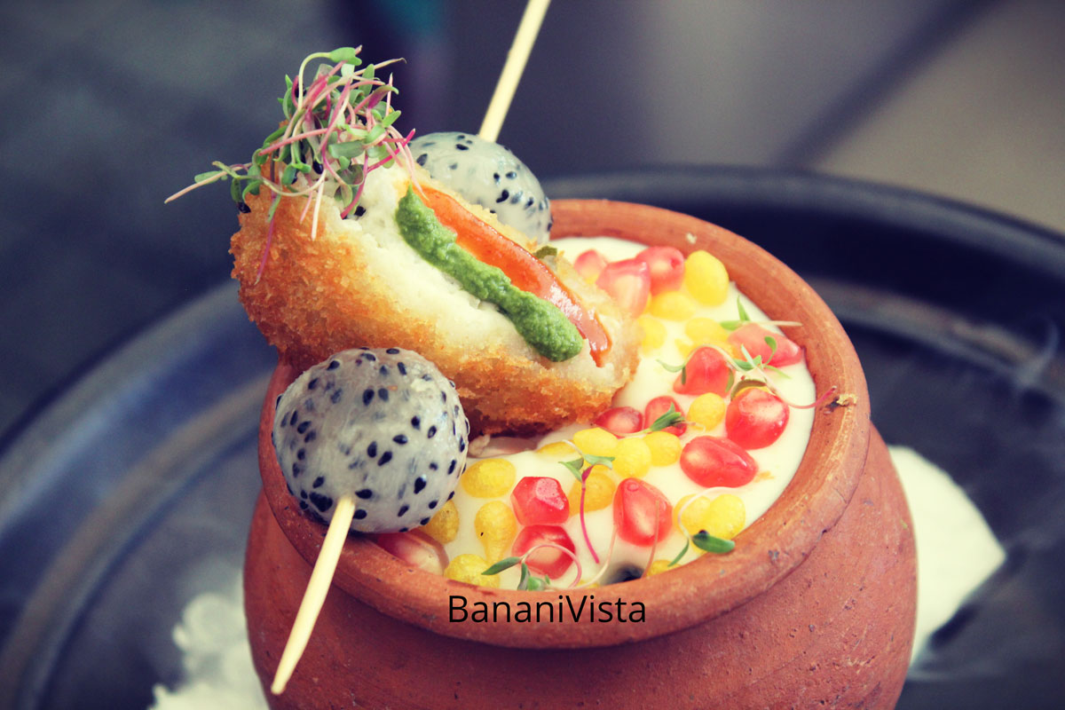 Curd Rice Tikki Chaat Dragon scoop, Besan pearls, Farzi Cafe