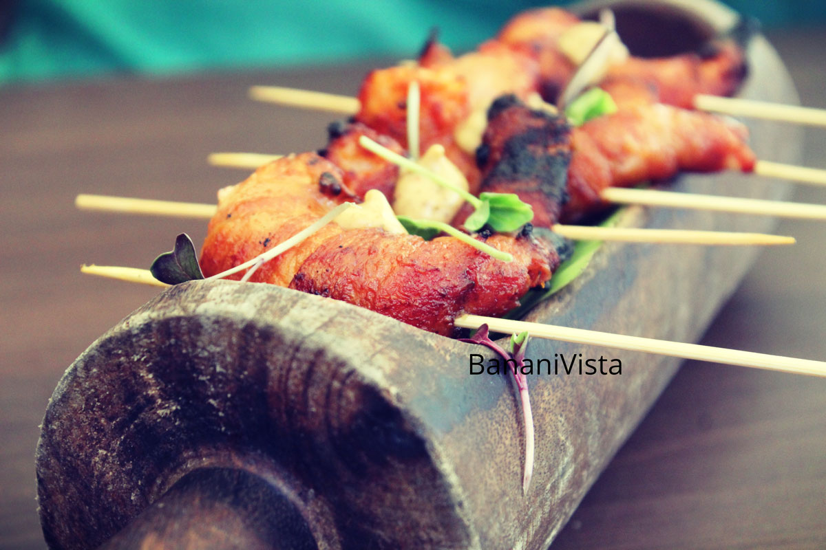 Tandoori bacon prawns, Tadka mayo, Farzi Cafe